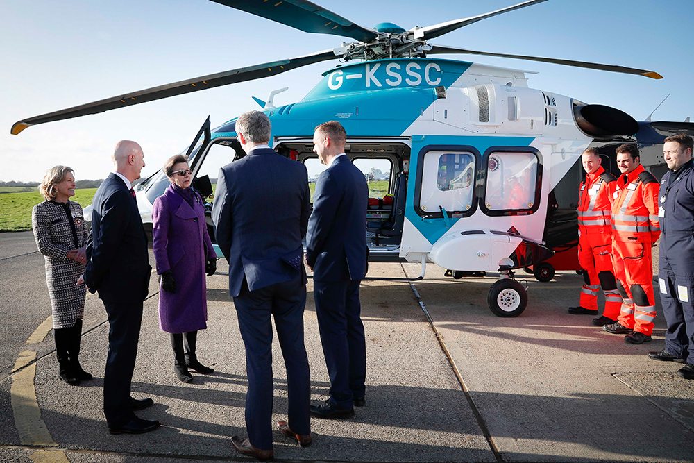 Her Royal Highness The Princess Royal Visits Redhill Aerodrome Marking 30 Years of Air Ambulance Kent Surrey Sussex