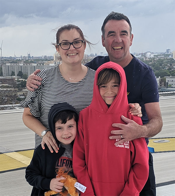Charlie's family on King's College Hospital helipad after his recovery