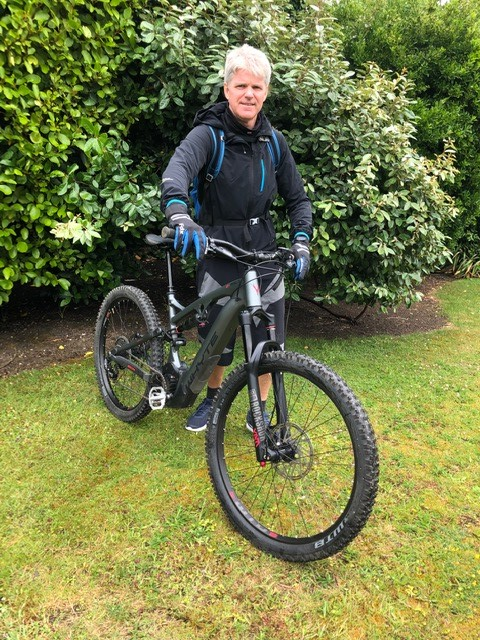 Wayne with his electric bike in July 2020