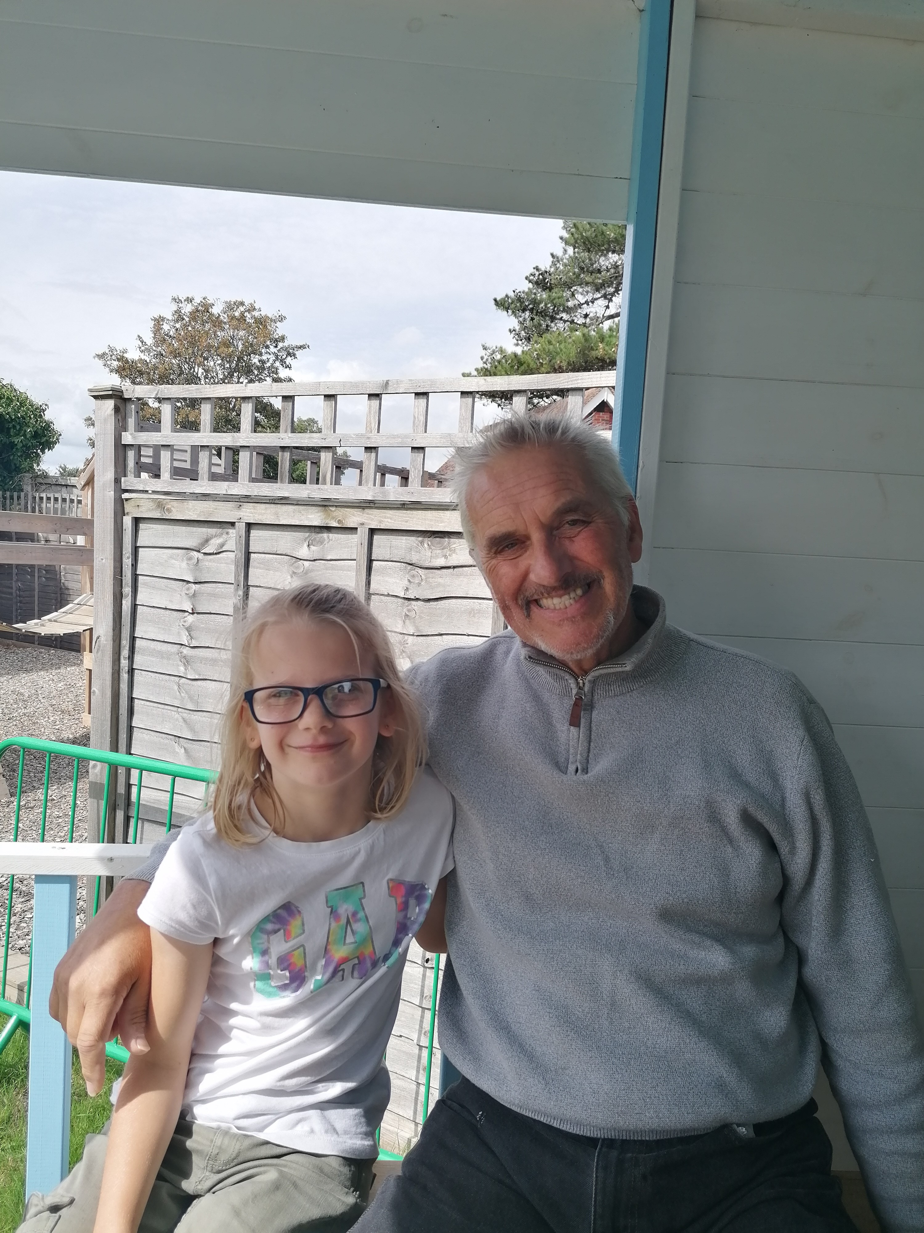 Scarlett with her grandfather, Paul, who we rescued after he was was thrown from his horse whilst riding on the beach at West Wittering in Sussex