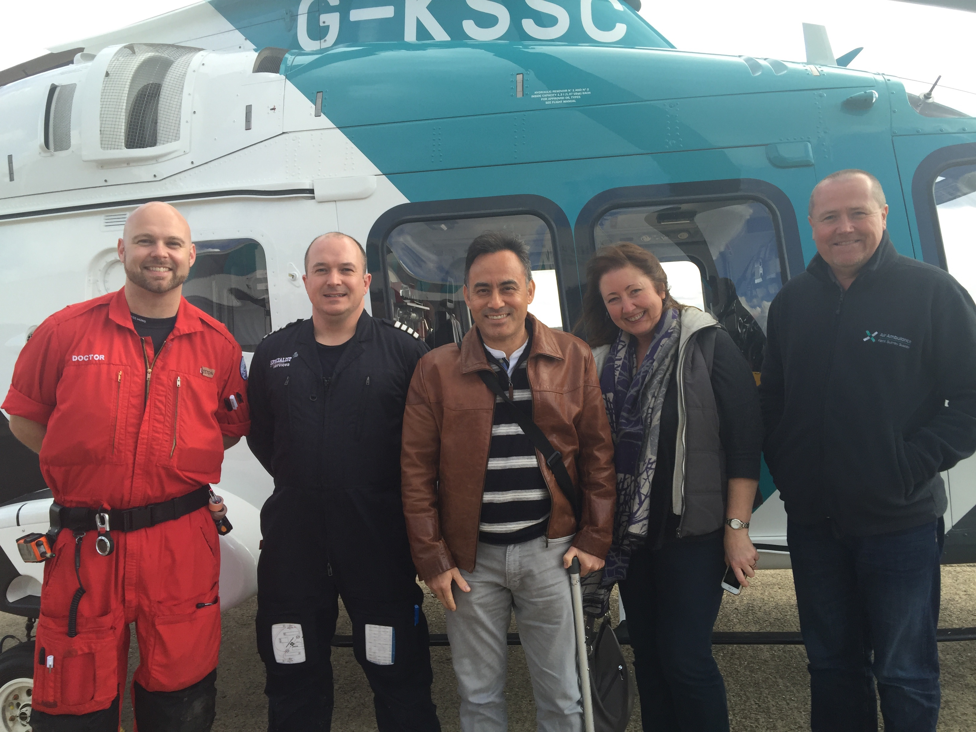 Left to right - Dr Eyston Vaughn-Huxley, Pilot Ben Richardson, Saroj, Sarah and Paramedic David Wright